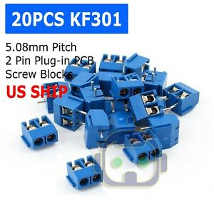 20pcs Kf301 2p 2 Pin Plug in Screw Terminal Block Connector 5 08mm Blue