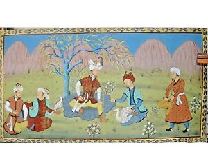 Antique Indian Folk Art Pichwai Painting On Fabric Cloth 54 Men Hunting India