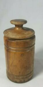 Antique Hand Carved Turned Wood Snuff Box Round Barrel Style Treenware 1880 1900