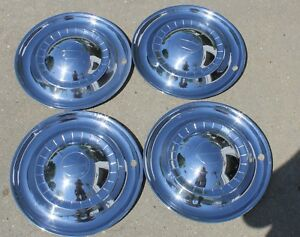 Set Of 4 1951 Kaiser Deluxe 15 Hubcaps Wheel Covers Oem 51 Vintage