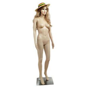 Female Mannequin Plastic Realistic Display Head Turns Dress Form W Base Skin Us
