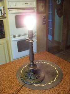 Antique 14 Bronze Color Pedestal Style Lamp Base In Working Condition