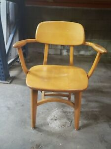 Myrtle Desk Company Mcm Mid Century Wood School Chair Sherry