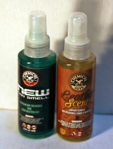 2 Chemical Guys Premium Air Freshener 4oz New Car Smell Scent And Leather Scent