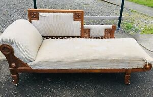 Antique Fainting Couch Chaise Sofa Eastlake Victorian Carved Ornate Settee 1800s