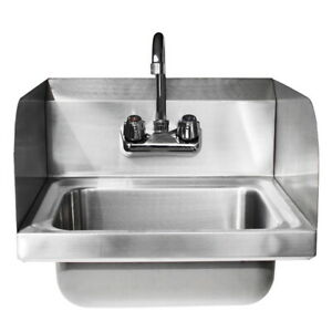 17 Kitchen Stainless Steel Wall Mount Hand Sink W Faucet And Drain Strainer