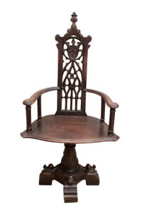 Unique Antique French Gothic Office Chair Swivel Chair Oak 19th Century