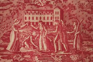 Antique Toile De Jouy French Textile 18th Century Fabric Red Bedcover 75x87inch