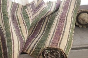 Hemp Fabric Striped Handwoven 2 5 Yards Purple Green Linen For Table Or Runner