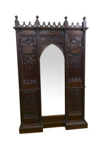 Antique French Gothic Hall Tree Hall Rack Walnut 19th Century