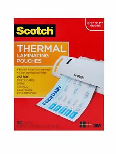 Scotch Thermal Laminating Pouches 8 5 X 11 100 pack free Shipping