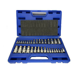 34 Pcs Hex Bit Set Sae Metric Socket Set Standard Allen 1 4 3 8 1 2 Tools