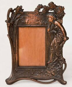 Art Nouveau Lady Vintage Metal Cast Bronze Finish Picture Frame 4 X 6 Picture