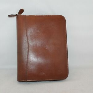 Franklin Covey Brown Leather Classic Binder Planner Organizer 7 Rings