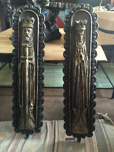 Vintage Mid Century Modern Gothic Medieval King Queen Wall Plaques Sculptures