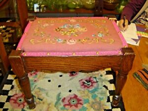 Antique Oak Footstool With Turned Legs With Needlepoint Cover 8061