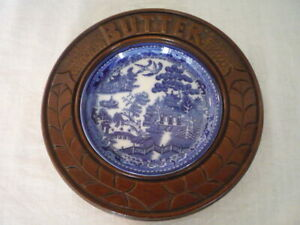 Vintage Carved Wood Butter Dish Blue Willow Liner English Kitchenalia Display A
