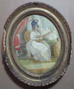 Antique Silk Needlework Embroidery Portrait Lady Playing Lute