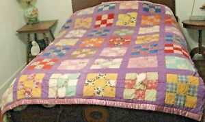 Vintage Quilt Nine Patch Squares Purple Fabric Quilt Backing Full Bed 66 X 80