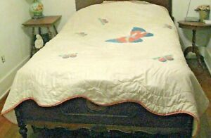 Vintage Quilt Applique Butterflies Scalloped Pink Edging Full Bed Size 84 X 86