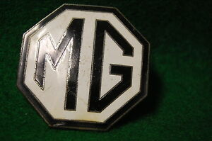 Vintage Mg Car Company Emblem Logo Screw On Original Part Enamel Metal