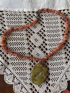 Vintage Chinese Jade Pendant And Carnelien Beads From Beijing China 1990 S