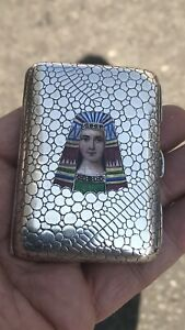 Antique French Or Austrian Enamel Solid Silver Cigarette Case Box 9 Pearl Seed