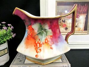 Limoges France Large Painted Pitcher Fruits Artist Signed Pattern A F Restored