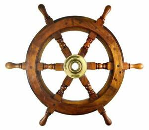 Collectible Wooden Ship Wheel 18 Inch Wall Nautical Decor Vintage Brown Brass