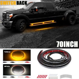 2x 70 Drl Running Board step Bar turn Signal Switchback Led Light Amber white