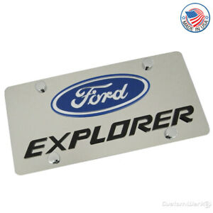 Ford Logo Explorer Name Stainless Steel License Plate
