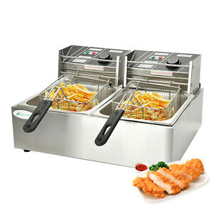 16l Electric Deep Fryer Countertop Fry Basket Dual Tank Restaurant Commercial