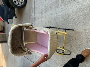 Antique Merikord Wicker Baby Carriage Stroller Pram Adjustable Canopy White Meta