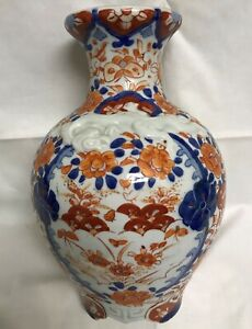 Antique Chinese 10 Vase Embossed Double Dragon Hand Painted Iron Red Blue Qing