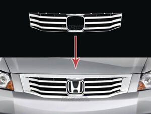 Fits 2008 10 Honda Accord Sedan Chrome Snap On Grille Overlay Grill Cover Insert