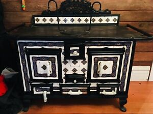 Antique French Bavarian Tile Iron Wood Coal Kitchen Cook Stove Heating Ornate