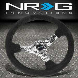Nrg Reinforced 350mm 3 Deep Dish Black Suede Camo Spoke Racing Steering Wheel