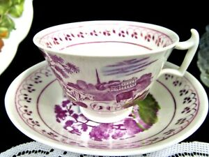 Antique English Porcelain Tea Cup And Saucer Pearlware 1840 S Teacup Luster Farm