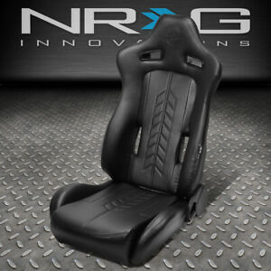 Nrg Innovations Pvc Reclinable Sport Racing Bucket Seat W Slider Left Rsc 810bk