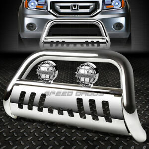 Chrome Bull Bar Grille Guard chrome Fog Light For 03 08 Honda Pilot 06 ridgeline
