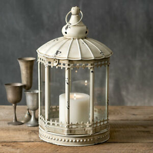 Country New Large Augustine Tin Candle Lantern Can Sit Or Hang