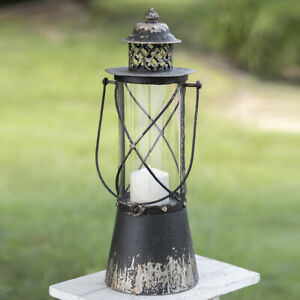 Rustic New Tall Point Loma Distressed Tin Candle Lantern