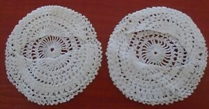 2 X Vintage Lace Crochet Coaster Drip Covers For Base Of Glass Like Doilies