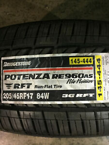 4 New 205 45 17 Bridgestone Potenza Re960 A s Run Flat Tires