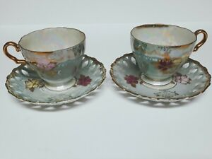 Matching Pair Of Royal Sealy China Tea Cup Saucer Set Luster Ware Gold Japan