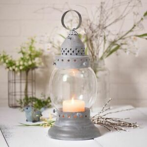 Country New Weathered Zinc Hurricane Tin Candle Lantern