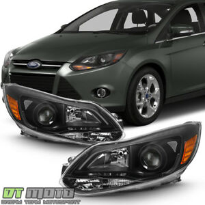 Black Projector Style 2012 2013 2014 Ford Focus Headlights Headlamps Left right