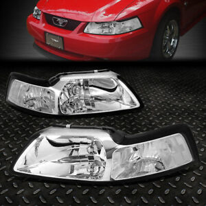 For 99 04 Ford Mustang Chrome Housing Clear Corner Headlight Replacement Lamps