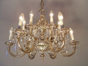 Crystal Silver Nickel Chandelier Glass Old Ceiling Lamp 12 Light Lustre Used