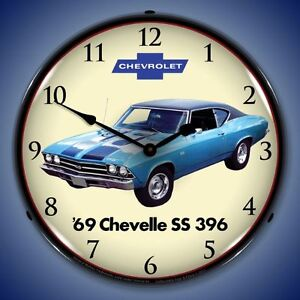1969 Chevrolet Chevelle Ss 396 Lighted New Muscle Car Clock Usa Made Fast Ship